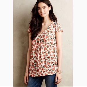 Anthropologie picnic days watermelon print top sz4